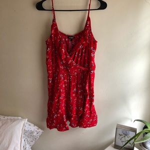 Short red floral dress